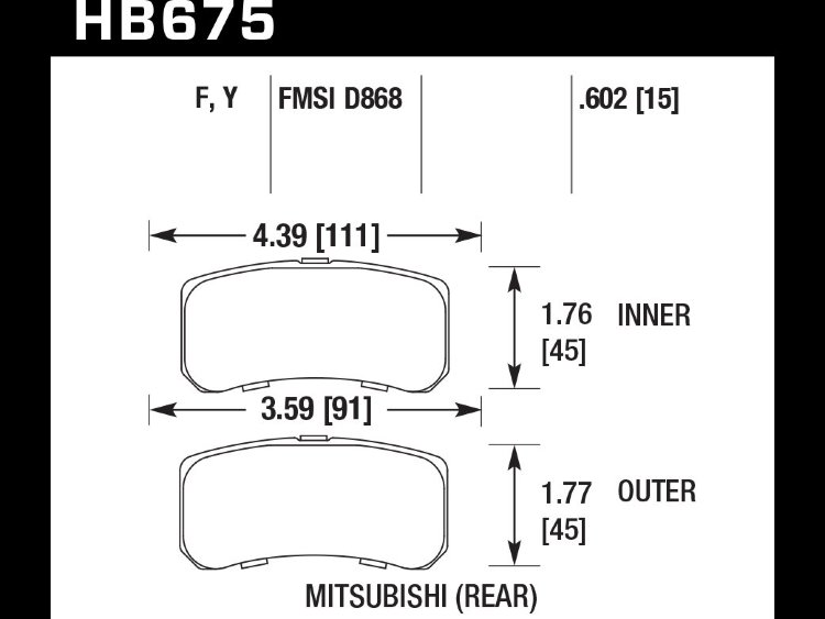 Колодки тормозные HB675Y.602 HAWK LTS  Mitsubishi Outlander, Lancer, Jeep