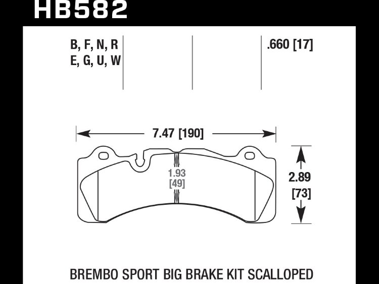 Колодки тормозные HB582W.660 HAWK DTC-30 Brembo Scalloped 17 mm