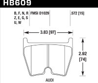 Колодки тормозные HB609Z.572 HAWK PC AUDI RS4, RS6, R8, Brembo G / JBT FB8P