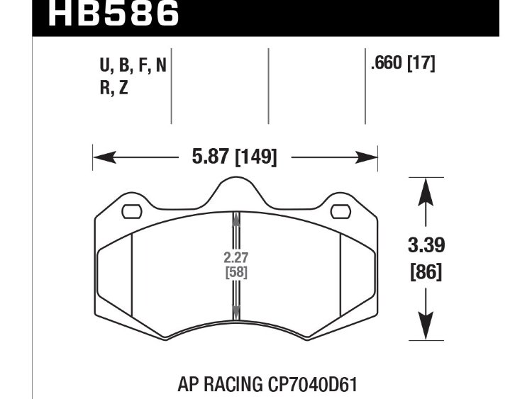 Колодки тормозные HB586R.660 HAWK Street Race AP Racing CP7040, CP9040; 17mm