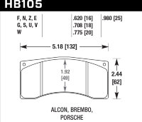 Колодки тормозные HB105F.620 HAWK HPS Alcon, Wilwood, Brembo, JBT FB4P1