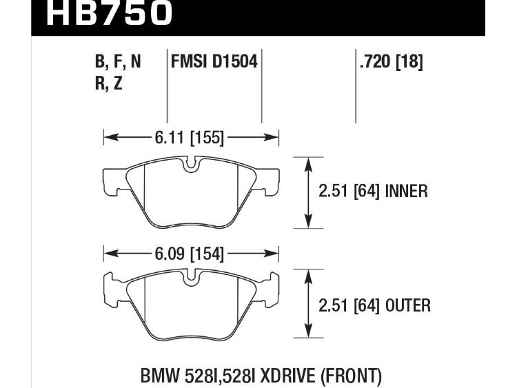 Колодки тормозные HB750R.720 HAWK Street Race BMW 5 F10; 5 F11; 5 F18; 18mm
